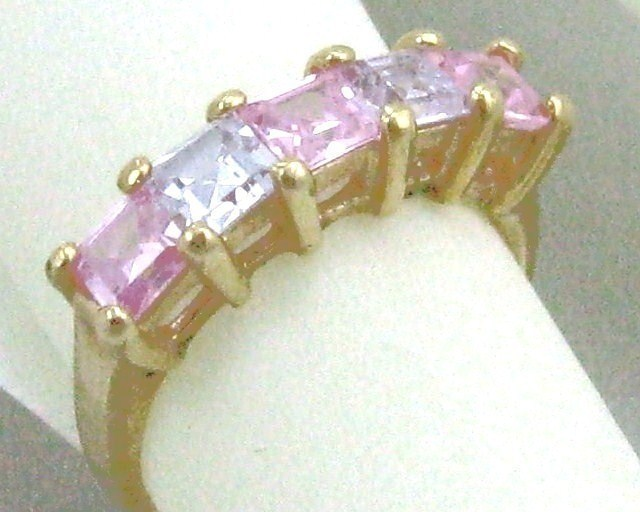 Primary image for VINTAGE 14K GF. PINK LAVENDER C.Z. COCKTAIL Ring sz 6-8