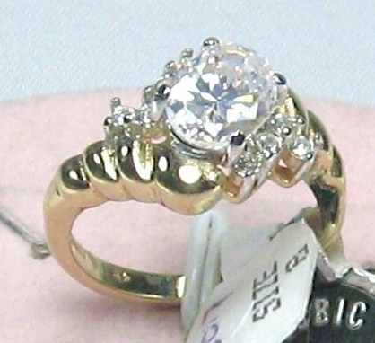 Primary image for VINTAGE 18KT HGF.solitaire 10mm C.Z. COCKTAIL Ring sz 8