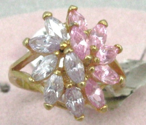 Primary image for 2 VINTAGE 14K GF. PINK LAVENDER C.Z. COCKTAIL Ring sz 8