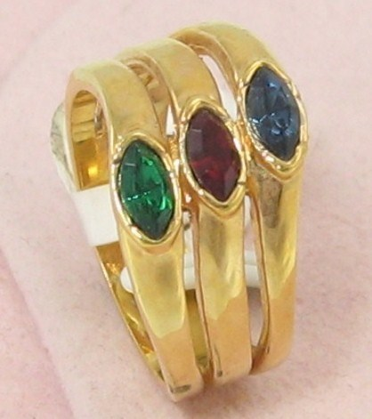 Primary image for 18K GE.GEMSTONE SAPPHIRE EMERALD RUBY COCKTAIL Ring sz 6-8-9