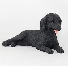 LABRADOODLE BLACK DOG Figurine Statue Hand Painted Resin Gift Pet Lovers - $17.25