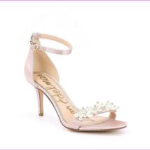 Sam Edelman Platt Pearl Detail Pink Satin Heels Ankle Strap Shoes Size 7.5 M - $52.63