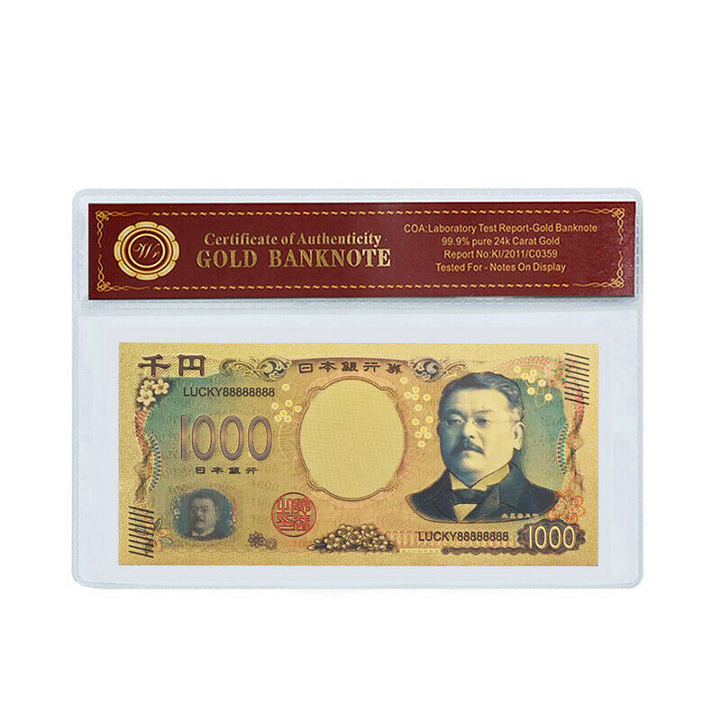 WR Japan 1000 Yen Gold Foil Banknote Note Bill For Collection In Sleeve