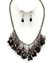 Black Grey Beaded Necklace & Earring Set - $18.99