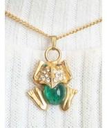 Jelly Belly Rhinestone Frog Pendant 60s Art Moderne - $19.95
