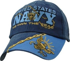 U.S. Navy We Own The Seas With Navy Insignia Navy Blue Baseball Cap Hat - $21.95