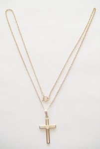 """VINTAGE THEDA 12K GOLD FILLED CZ CHRISTIAN CROSS PENDANT NECKLACE 18 1/2"""" CHAIN"""