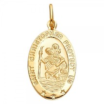 14K Yellow Gold Oval St. Christopher Religious Pendant - $205.99