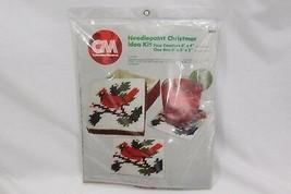 Columbia Minerva Cardinal Xmas Plastic Canvas Needlepoint 8331 Coaster Box 1980 - $23.03