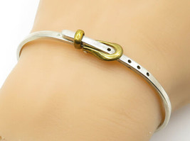 MEXICO 925 Silver - Vintage Two Tone Belt Buckle Bangle Bracelet - B6178 - $42.93