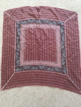 Desco SCARF Square 30% SILK 70% Rayon Made In Japan Red Brown - $4.99
