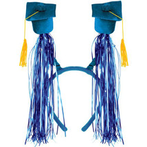 Grad Caps w/Fringe Boppers (blue) Party Accessory 1 head piece - ₨691.57 INR