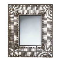 Wall Mirrors Large, Contemporary Wall Mirror For Bathroom Brown Faux Rattan - $72.41