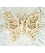 Elegant Roman Crystal Rhinestone Gold-tone Butterfly Brooch 1970s vintage - $14.80