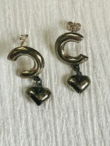 Estate 925 Marked Silver Backwards C with Puffy Heart Dangle Post Earrin... - $20.42