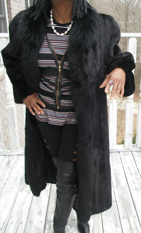 Primary image for New Nwot Unique Elegant Black Full Length SAGA Mink & Fox Fur Coat Jacket S-8