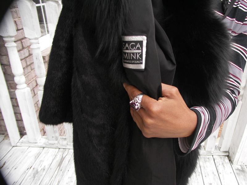 New Nwot Unique Elegant Black Full Length SAGA Mink & Fox Fur Coat Jacket S-8