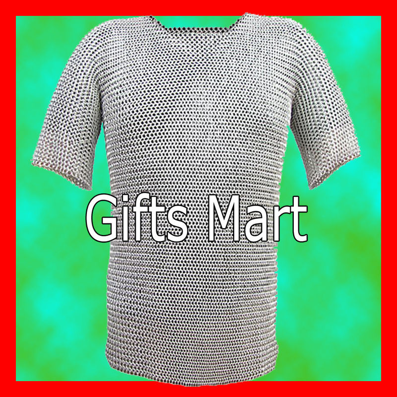 9mm MEDIEVAL M STEEL, BUTTED CHAINMAIL Shirt,HAUBERK(L), Fancy Costume Gift