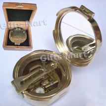 Brass Brunton Compass With Wood Box, Vintage Maritime Marine - $47.00