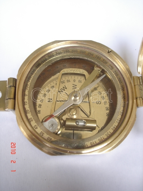 Brass Brunton Compass With Wood Box, Vintage Maritime Marine
