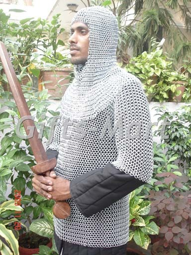 CHAINMAIL ARMOR WITH HOOD,Medieval Larp Chain Mail Shirt + Coif LOTR Collectible