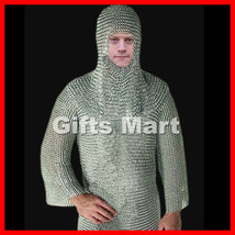 CHAINMAIL SHIRT W/ Free Hood, Knight Costume Armor LOTR, Fancy,Armor,Collectible - $134.99