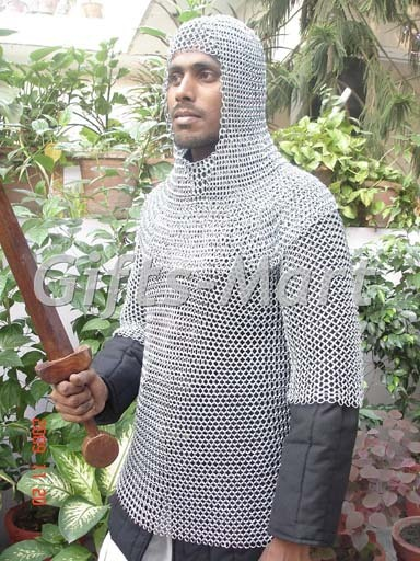 Camisa de Cota de Malla Medieval Con Capucha Cofia, Armadura de Cotta de Maille