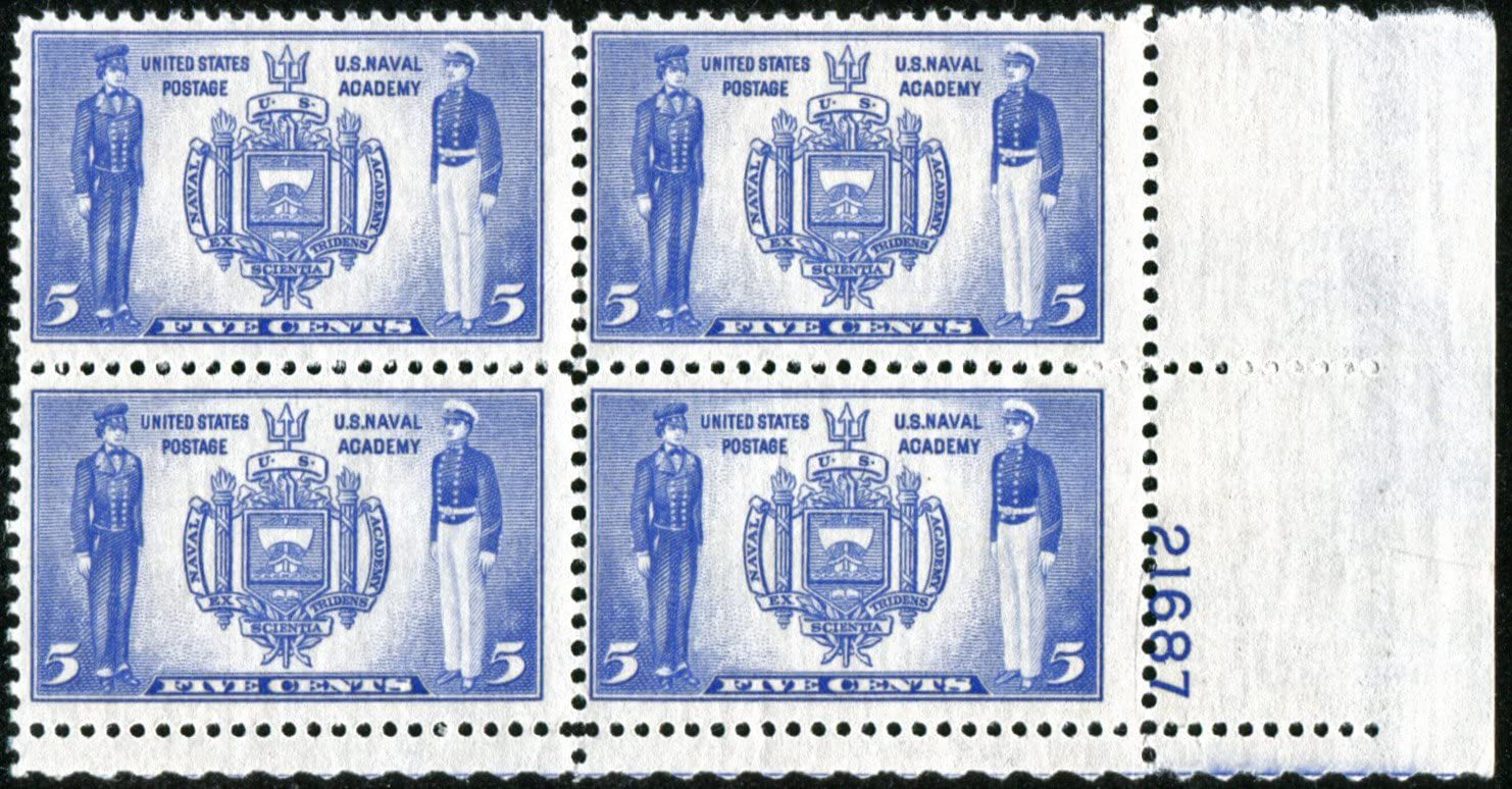 1937 Seal of US Naval Academy Plate Block of 4 US Postage Stamps Catalog 794 MNH