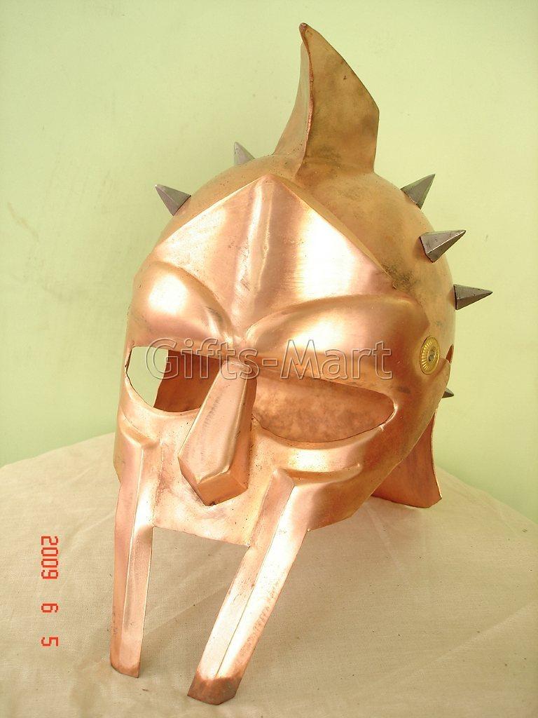 GLADIATOR HELMET Medieval Roman Greek Armor Larp MAXIMUS Helmets, Fantasy Prop