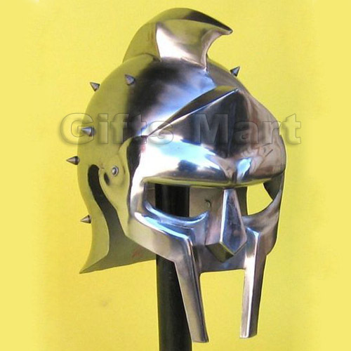 GLADIATOR HELMET SPIKED, GREEK MAXIMUS SPARTAN, MAXIMUM DECIMUS MERIDIUS Armour