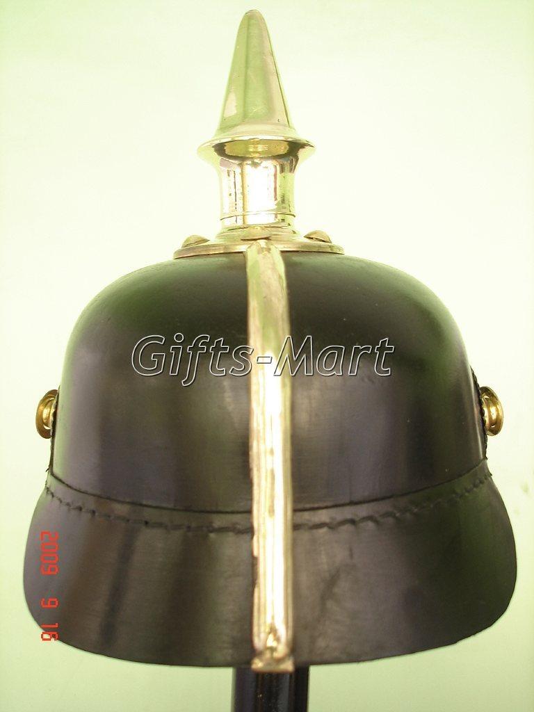 German Prussian Spiked Pickelhaube Helmet, WW1 Leather, Medieval Army Dress  **