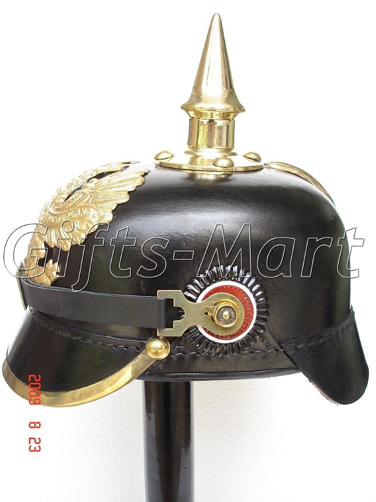 German Prussian Spiked Pickelhaube Helmet, WW1 Leather, Medieval Army Dress  FR