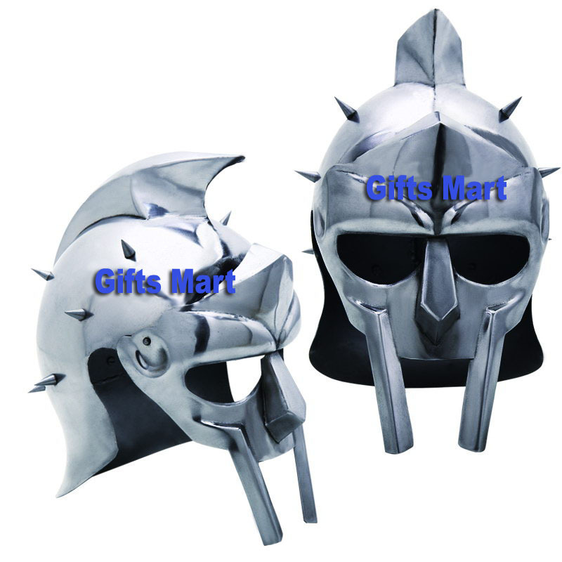 Gladiator Helmet Maximus Medieval Greek Armor with Free Display Stand and Liner