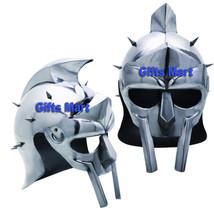 Gladiator Helmet Roman Maximus + Adjustable Leather Liner, Medieval Armo... - $79.99
