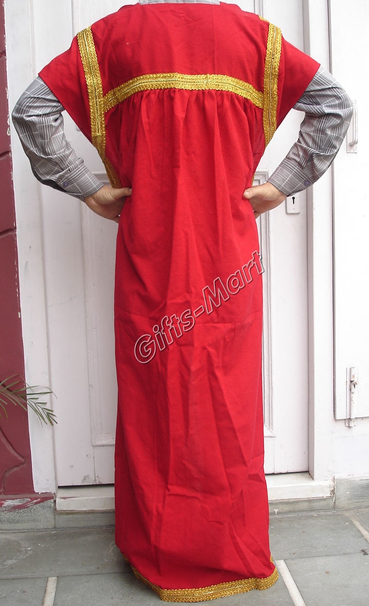 Greek Roman Costume Red Tunic Cape, Medieval Reenactment Dress Fancy New Year Gi
