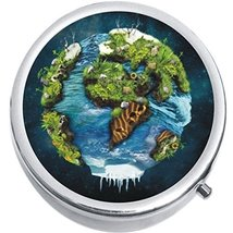 Planet Earth Art Medicine Vitamin Compact Pill Box - $9.78