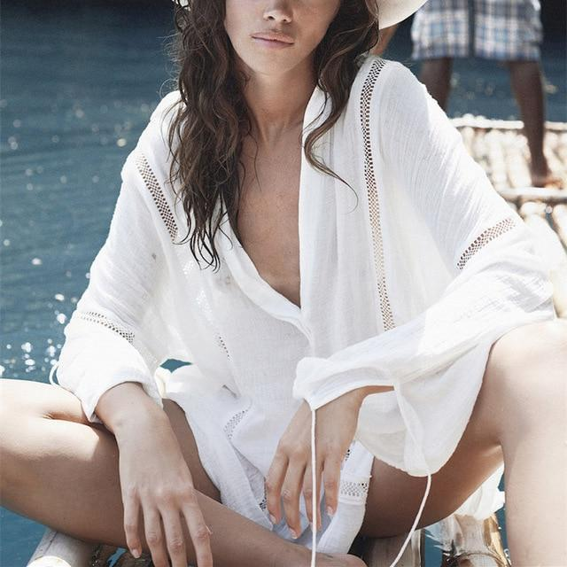 Solid White Sexy Hollow Out Deep V Neck Above Knee Beach Blouse Dress Swim Cover