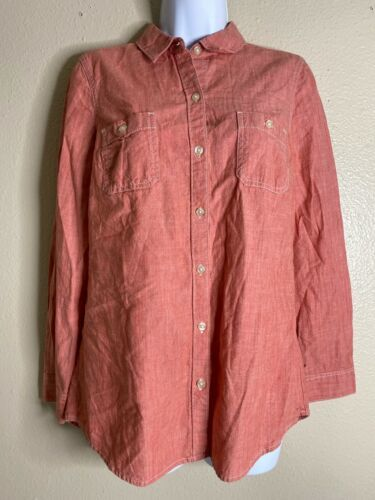 Primary image for Old Navy Womens Size S Red Button Up Long Sleeve Shirt Pockets