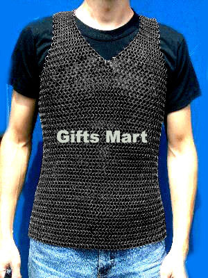 Kettenhemd verzinkt, ohne Ärmel, brüniert - L, Sleeveless Chainmail Blackened