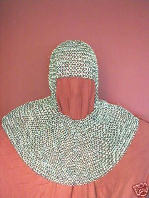 LARGE 9MM 16 SWG HIGH QUALITY ALUMINIUM ROUND RIVETED CHAINMAIL SHIRT WITH COIF