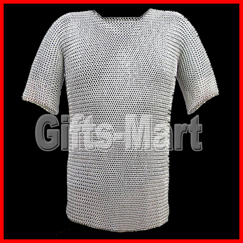 MEDIEVAL ALUMINUM REVITED CHAINMAIL Armor. HAUBERK,SHIRT(XL), Ancient Militaria