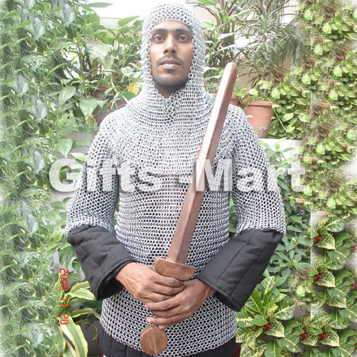 MEDIEVAL CHAINMAIL SHIRT + CHAIN MAIL COIF Armor, Collectible Costume Armor,,