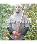 Medieval CHAINMAIL SHIRT CHAIN MAIL Hauberk +COIF ARMOR LOTR, Military C... - $90.00