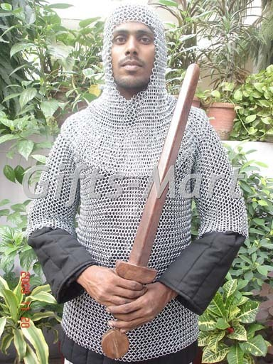 Medieval CHAINMAIL SHIRT CHAIN MAIL Hauberk +COIF ARMOR LOTR, Military Costume