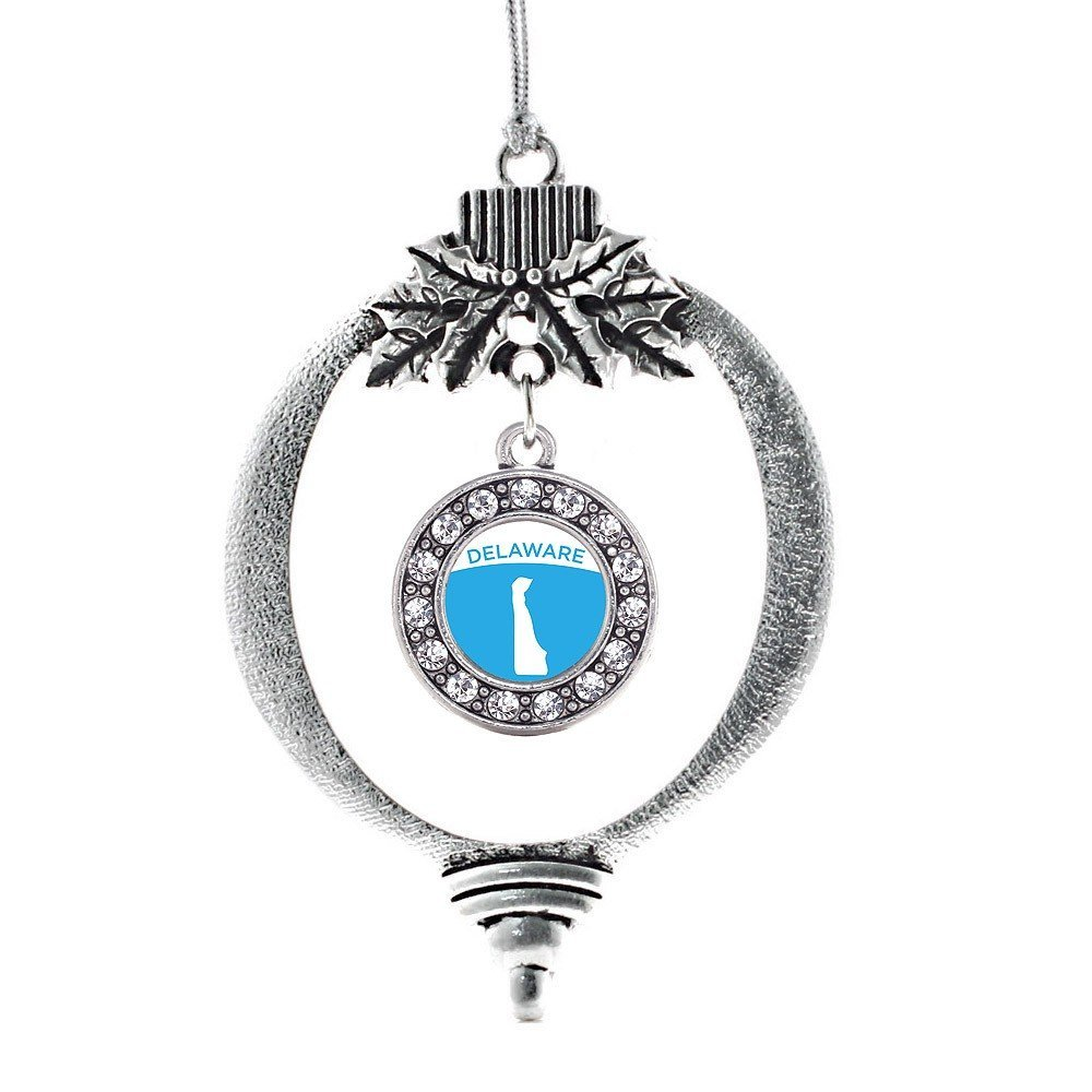 Inspired Silver Delaware Outline Circle Holiday Decoration Christmas Tree Orname - $14.69