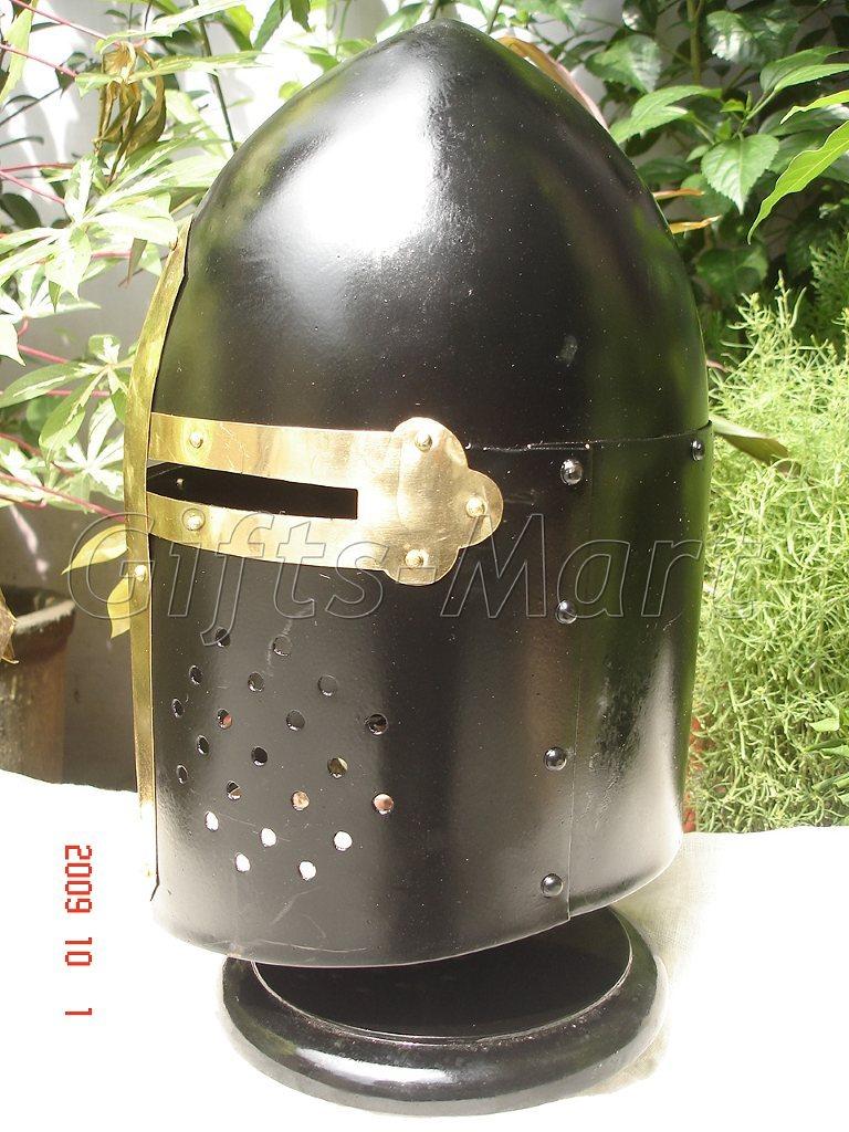 Medieval Sugarloaf Helmet Knight Armor Sugar Loaf Black, Fancy, Ancient,Dress