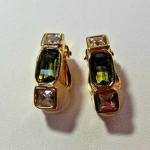 Signed Swarovski Crystal Studio Olivine Collection Clip-On Earrings Limited Ed. - $55.00