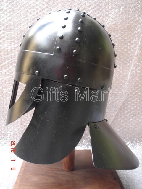 Medieval Viking Helmet w.spectacles like visor Blackened, 900 AD, Costume Armour