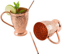 Embossed Copper Mugs Moscow Mule Pure w Bonus Stir Straws Cocktails Set ... - $983,88 MXN