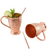 Embossed Copper Mugs Moscow Mule Pure w Bonus Stir Straws Cocktails Set ... - $51.45